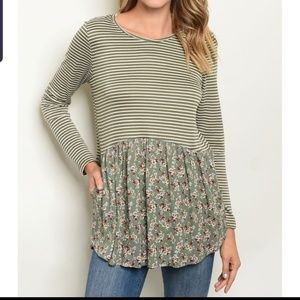 *Final price. Small, Striped floral long sleeve